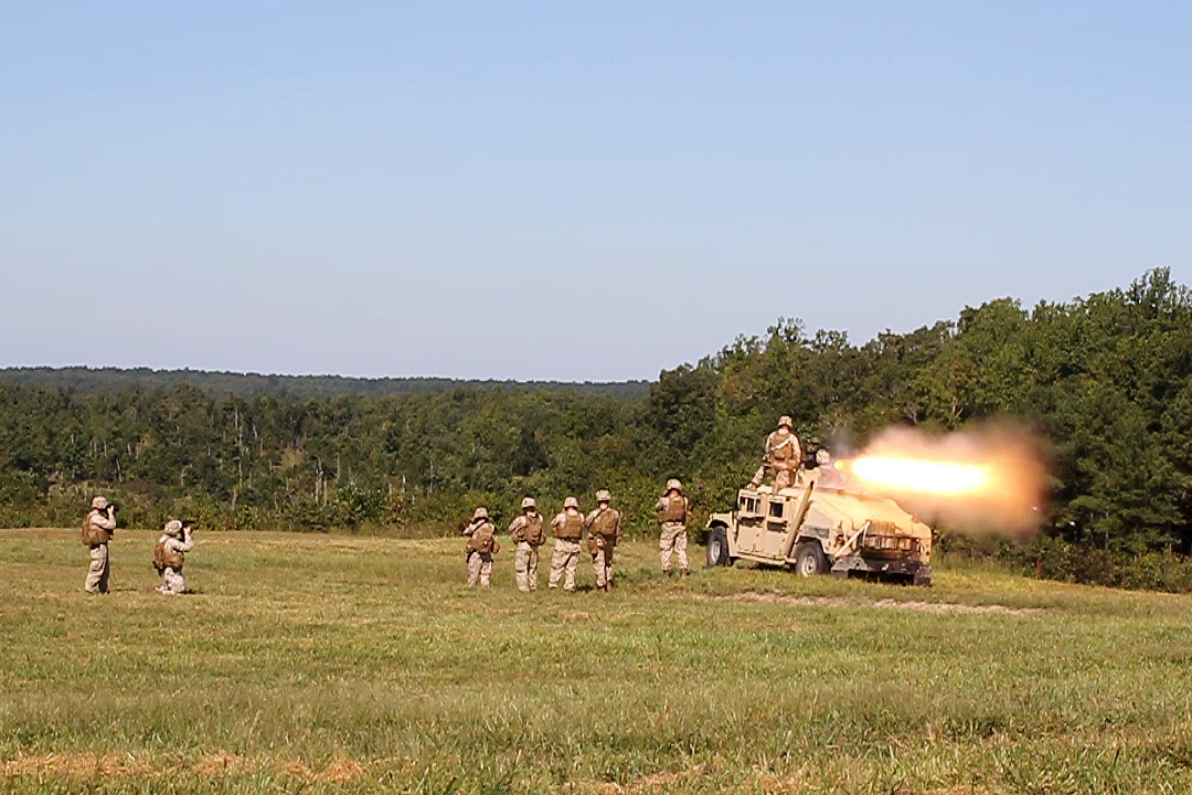 Combined anti-armor team marines fire a Humvee mounted TOW missile at Fort Pickett, VA for pre-deployment training